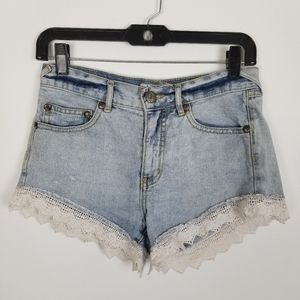 Free People denim lace jean shorts 24